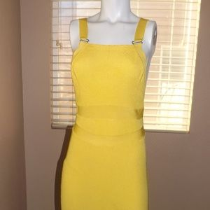 Yellow Free People Midi Bodycon Dress
